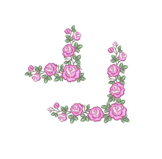Guarda de Rosas Matriz de bordado a máquina. Esquina de | Etsy