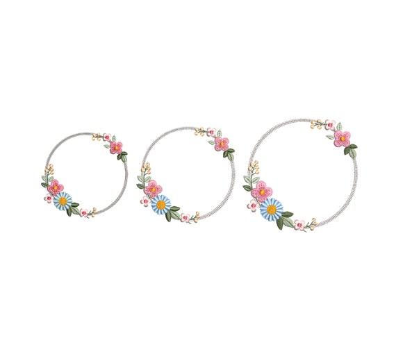 Machine embroidery design LARGE HOOP Dainty Boho wreath Heirloom flower circle Monogram frame hoop Kranz Stickdatei Broderie couronne fleur