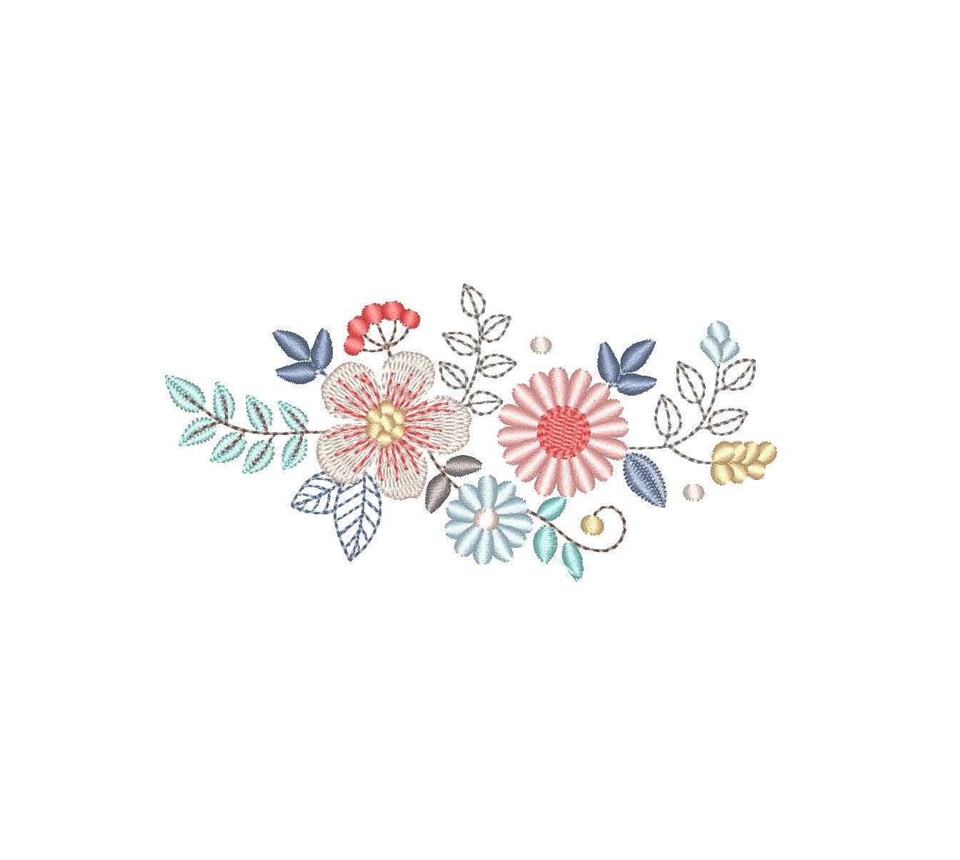 Diseño de flores para bordado a máquina Flores de estilo | Etsy