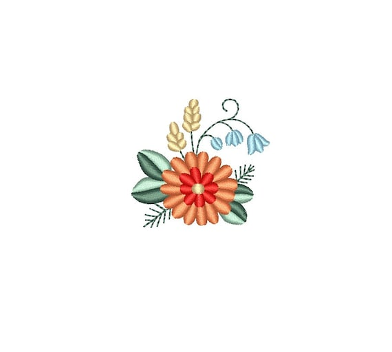 Mini Flowers Small Flower Bunch Machine Embroidery Design Etsy
