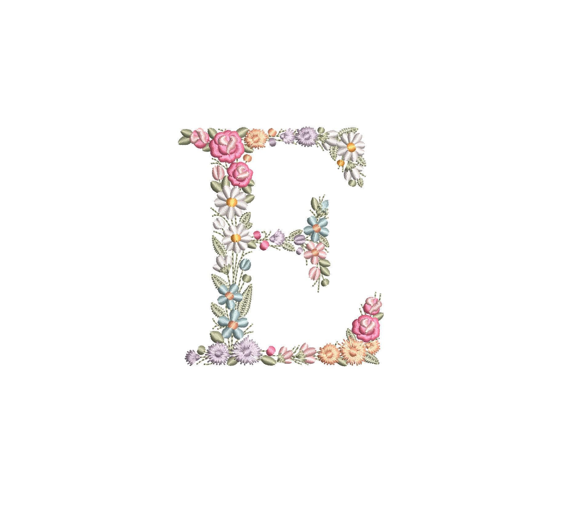 E monogram Embroidery design letter E beautiful alphabet Font E embroidery Letter E embroidery Fancy Vine Embroidery wedding letter #28