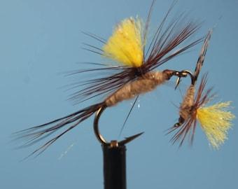 Parachute March Brown flies, (3 pack) Trout flies, Mayflies, dry flies, hand tied flies, parachute dry flies