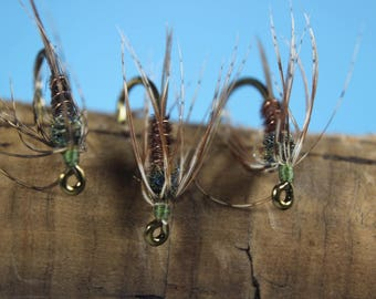 Pheasant Tail Soft Hackle flies, (3 pack) soft hackle flies, Trout flies, wet flies, emerger flies