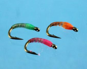 Neon Nightmare Midge, (3 pack) hand tied flies, fly fishing flies, Trout flies