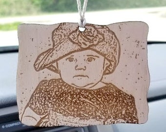 Engraved Wood Photo Mirror Hanger