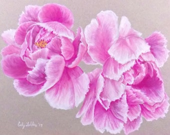 "Pink Peonies Pastel Giclee Print 9""x12"""