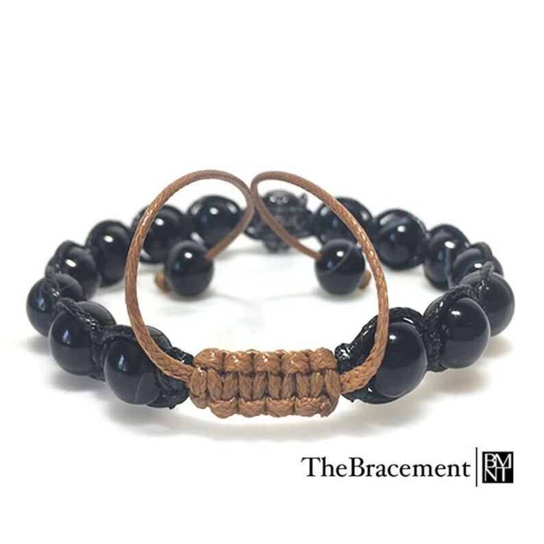 8mm Round Natural Striped Agate Beaded Macrame Bracelet with Micro Pave Cubic Zirconia Gunmetal Leopard