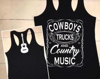 Cowboys Trucks Country Music / Guitar Back / Racerback Tank Top / Concert Shirt / White Vinyl / Country Girl / Southern Girl Redneck