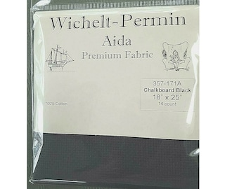 Wichelt Permin Premium Aida Cross Stitch Fabric 14 Count Touch of Grey 18 x 25
