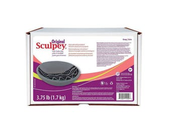 ORIGINAL SCULPEY GRAY Grey Polymer Clay Oven Bake 3.75 Pounds