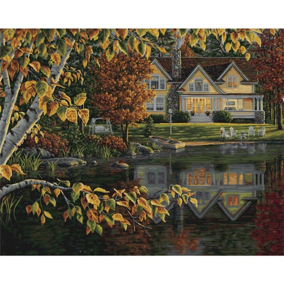 """Paint Works Paint By Number Kit 20/""""X16/""""-Lakeside Village"""