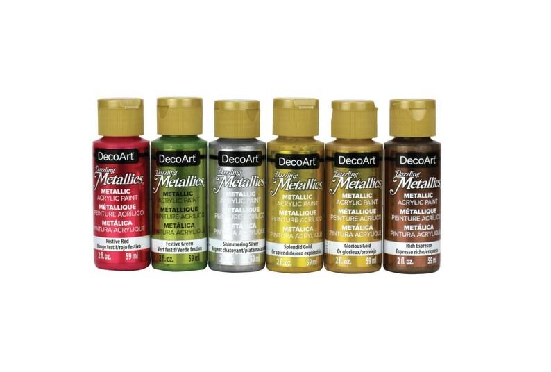 Decoart Dazzling Metallic 6 Pc Acrylic Paint Set 2 Oz Bottles Etsy