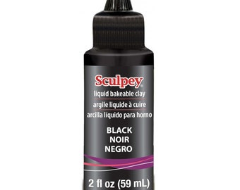 Sculpey BLACK Liquid SCULPEY Bakeable Clay and Transfer Medium 2 oz Made in USA