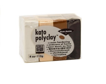 KATO Polymer Clay Polyclay Oven Bake 4 pc Set NEUTRALS White Black Brown Beige
