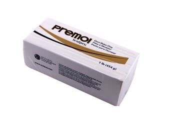 PREMO SCULPEY White Block Polymer Clay Oven Bake Professional Quality