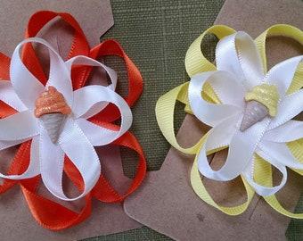 HAIR BOWS Girls Childern 2 Handmade Bows Summer Theme Orange Yellow Ice Cream Cones