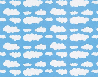37bd5dd939c Jersey Fabric, Cotton Jersey Knit Fabric - Clouds in Light Blue