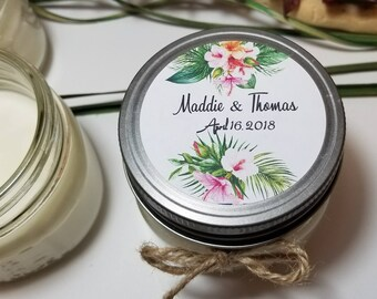 12 - 4 oz Personalized Wedding Favors - Soy Candle Favor - Bridal Shower Favors - Wedding Gift for Guests - Mason jar Candles - Personalized