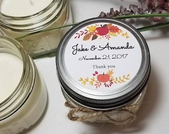 12 - 4 oz Personalized Wedding Candles - Mason Jar Favors - Soy Candle Favors - Bridal Shower Favors - Fall Wedding  - Gift for Guests