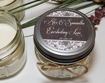 12 - 4 oz Personalized Wedding Candles - Bridal Shower Favors - Wedding Favors - Wedding Gift for Guests - Engagement Party Favor
