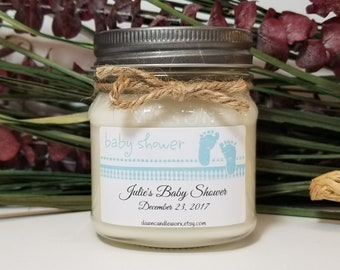 8oz Baby Boy Shower Candles - Baby Shower Favors - Mason Jar Candle - Thank You Gift for Guests - Its a Boy - Baby Shower Prizes - Baby Blue
