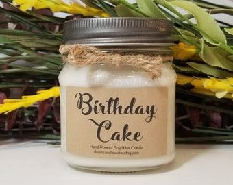 8oz Soy Candles Handmade - Scented Candles - Bakery Candle - Homemade Candles - Birthday Gift -Birthday Candle - Birthday Cake