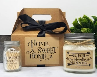 New Home Gift Box - Housewarming Gift - New Apartment Gift - 8oz Soy Candle Gift Set - First Home Gift - Moving Gift - Homeowner Gift