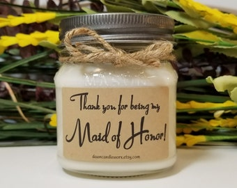 Maid of Honor Thank You Gift - Matron of Honor - Bridal Party Gifts - Wedding Candles - 8oz Soy Candles Handmade - Thank You Bridesmaid Gift