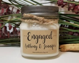 8oz Personalized Engagement Gift for Couple - Wedding Candle - Engagement Candle - Bride Gift - Bridal Shower Gift - Custom Gift