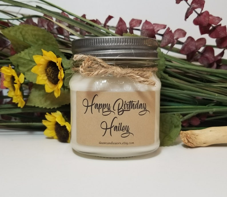 8oz Personalized Birthday Candles Soy Handmade