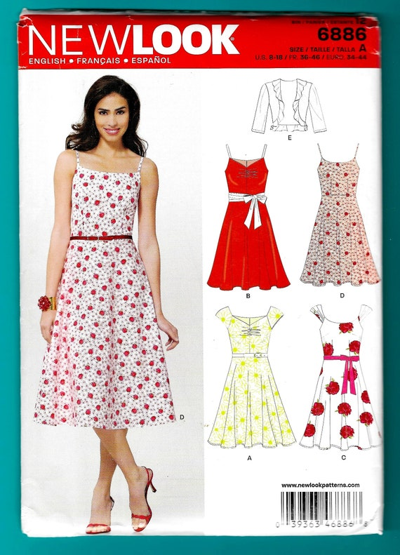 279fc607e91 New Look 6886 Sewing Pattern Miss Spaghetti Straps Dresses