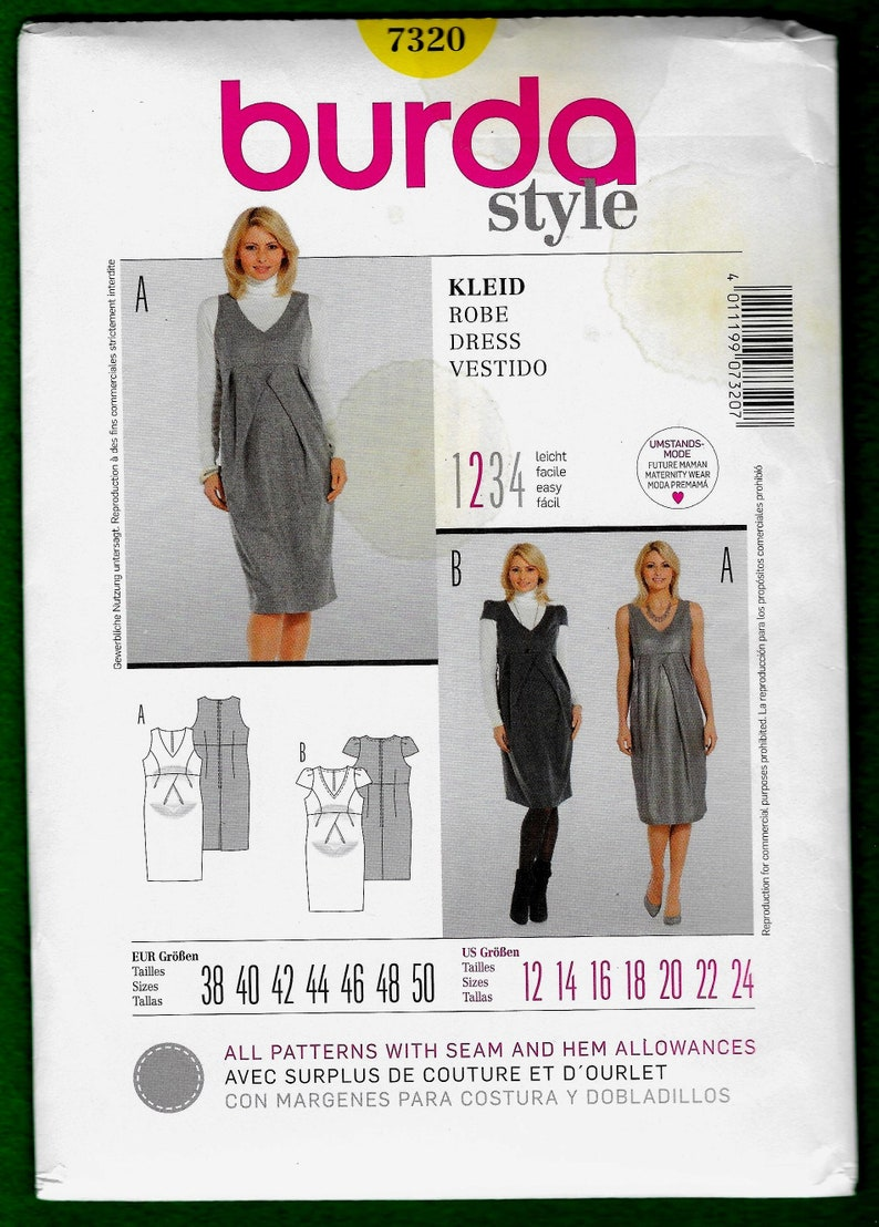 cffb3750f2a78 Burda Style Sewing Pattern 7320 for Women Maternity Dresses | Etsy