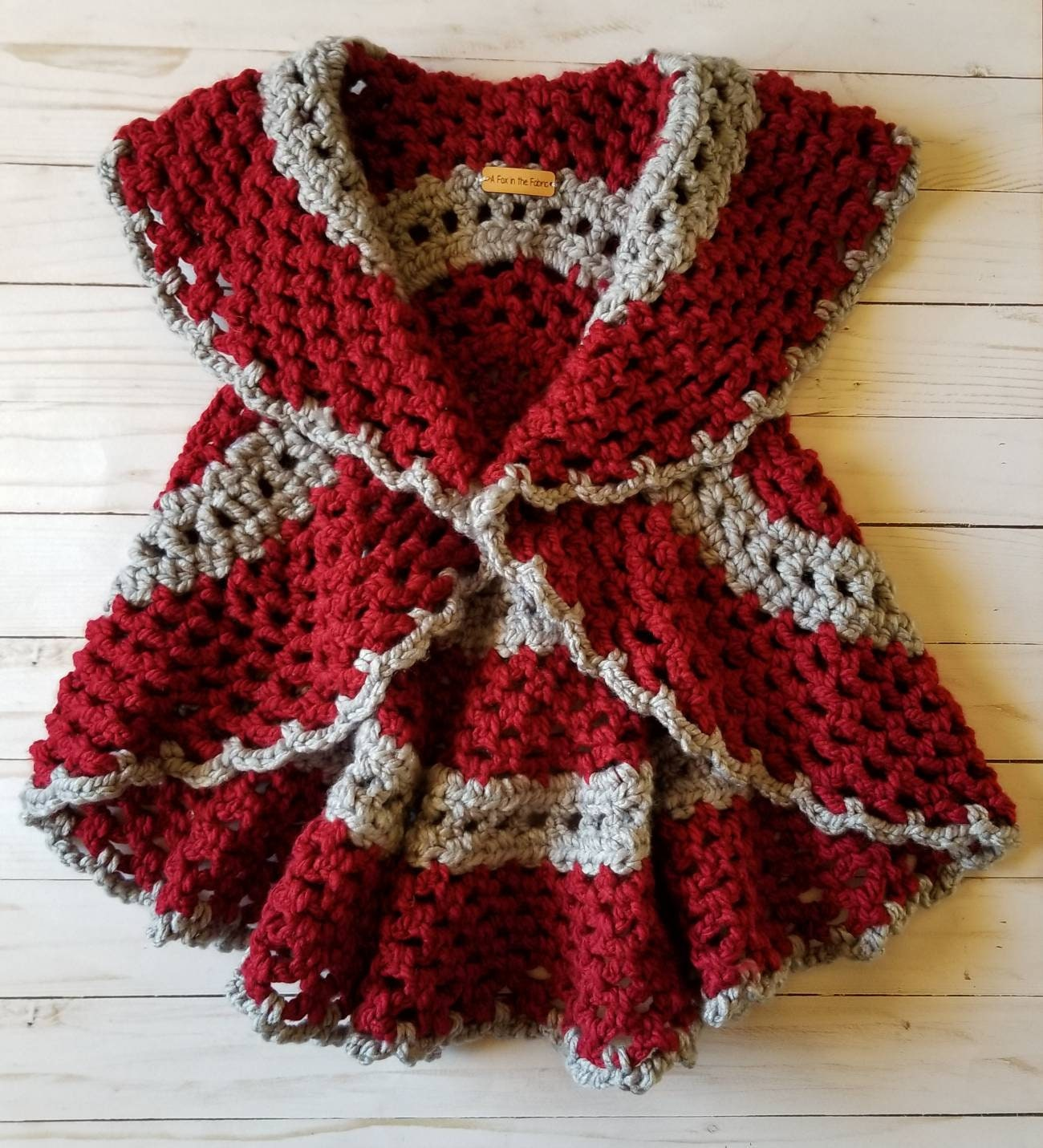 3e724301eea2a Crimson and Grey Crochet Circle Vest