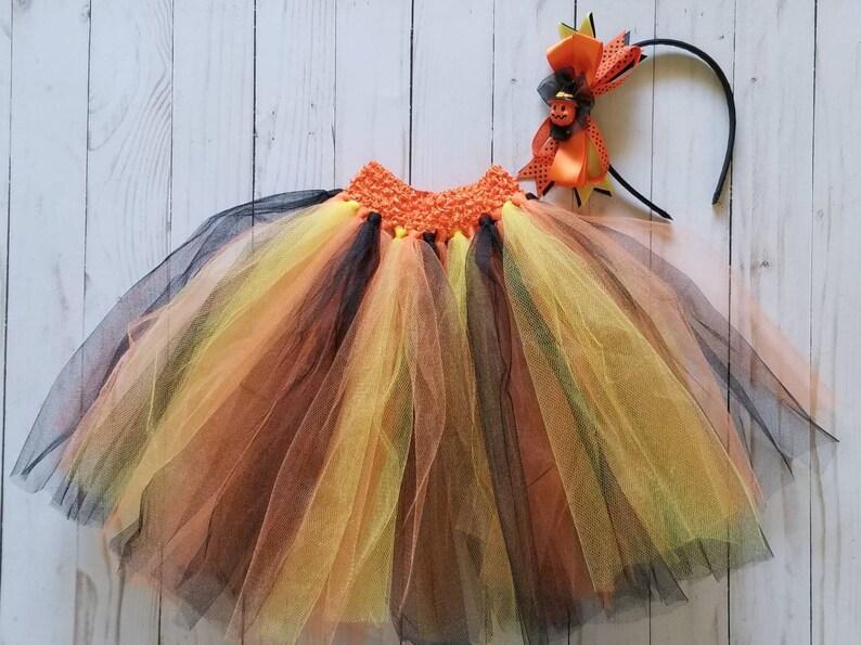 2d76dc2c74409 Halloween Tutu with Jack-o-lantern Headband Black and Orange | Etsy