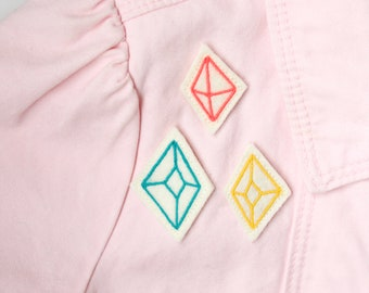 Diamond Pin Set / Embroidered Felt Pins