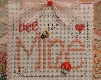 "Finished Cross Stitch ""Valentine - Be Mine """