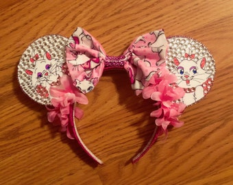 Disney Inspired Aristocats Marie Hand Drawn Mouse Ears