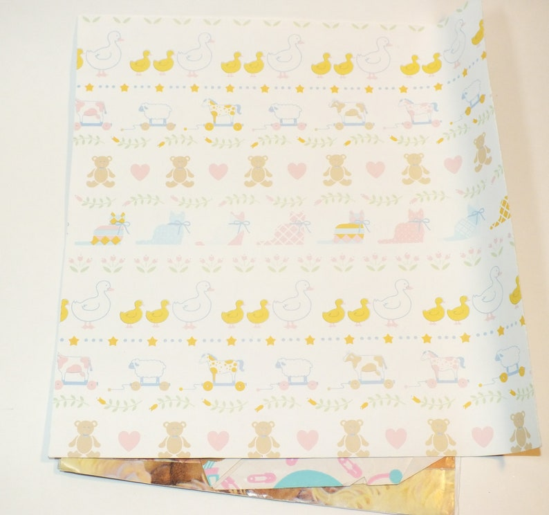 Vintage Gift Wrap Grab Bag Lot Baby Shower Birthday Doll Wrapping Paper Paper Crafts Scrapbooking Junk Journal Ephemera W8