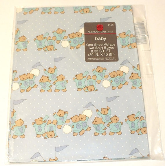 Vintage American Greeting Gift Wrap Baby Boy Teddy Bear Shower Etsy