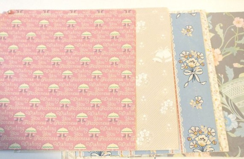 Vintage Wrapping Paper Gift Wrap Mixed Lot 6 Sheets Wedding Bridal Shower Flowers Bells Silver