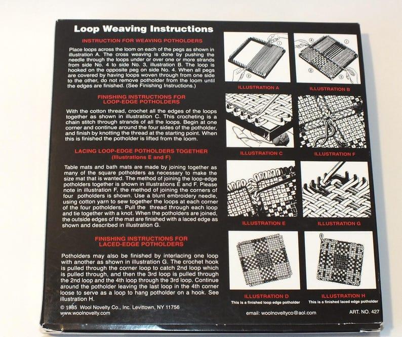 Vintage Loom and Hook Weaving Kit 1985 Loop Weaving Pot Holders Placemats Doilies Kids Crafts