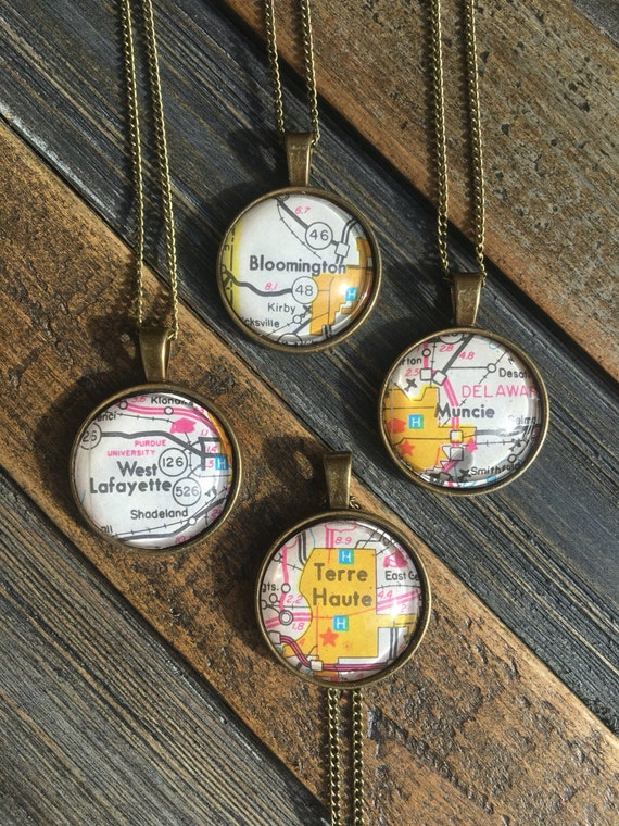 Custom Personalized Vintage Map Pendant Necklace / World Traveler / Hometown / Map Jewelry / College Town / Graduation Gift / Long Distance