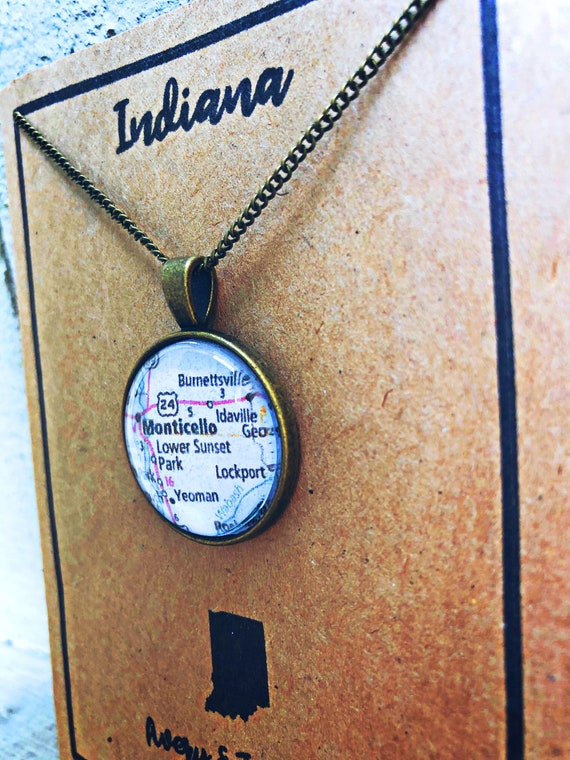 Indiana Hometown Map Bronze Necklace