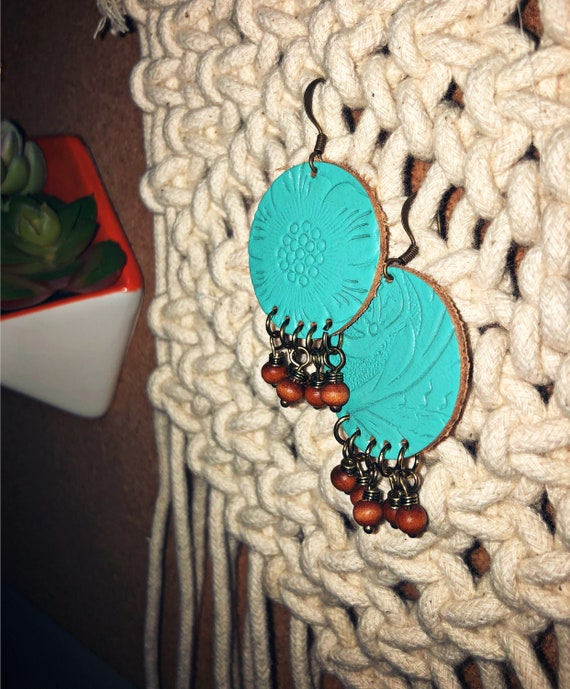 Turquoise Bronze Leather Earrings