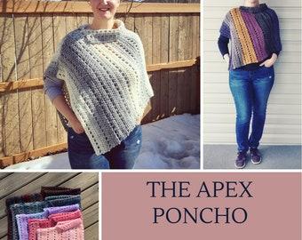CROCHET PONCHO PATTERN:Apex Poncho/Crochet Pattern/Crochet Poncho/Poncho/Womens Poncho/Toddler Poncho/Child Poncho/Fall Wear/Spring Wear