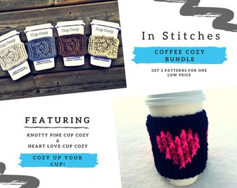 CROCHET PATTERN: Coffee Cup Cozy/Coffee Cup Sleeve/Cup Cozy Pattern/Reusable Coffee Sleeve/Cup Sleeve/Crochet/Crochet Hearts/Crochet Cables