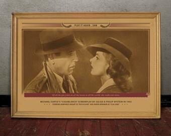 Bogard, CASABLANCA, Monochrome retro classic movie poster