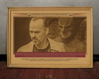 Michael Keaton, BIRDMAN, Monochrome retro classic movie poster