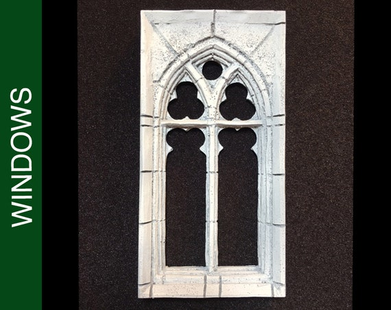 208 Med Square Stone Traced Gothic Dollhouse Window W Stone Etsy