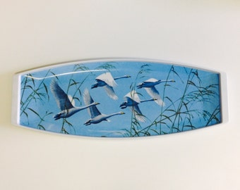 Vintage blue melamine tray with picture of flying geese